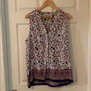 Artisan NY brand floral sleeveless blouse